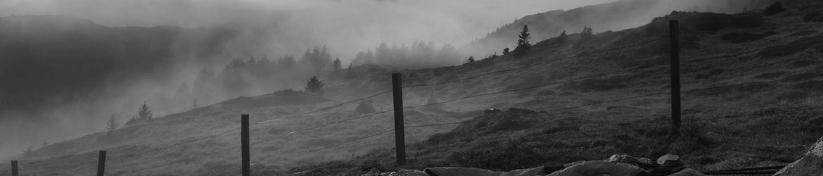 Fence in the foreground of a foggy hillside